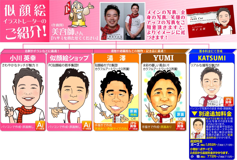 似顔絵イラストレータは5人から選べます