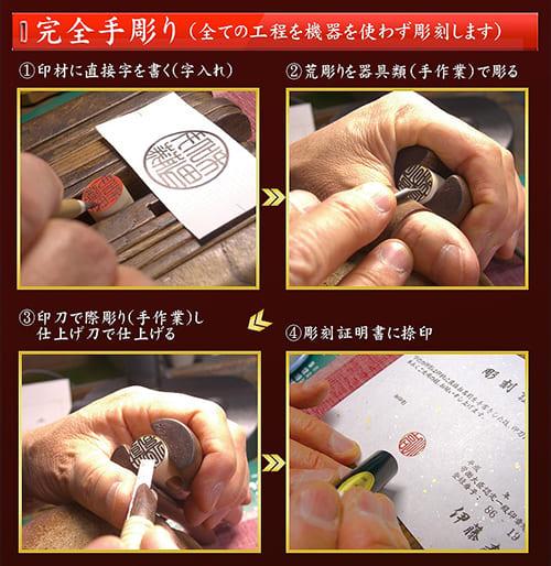 手彫り印鑑の彫刻