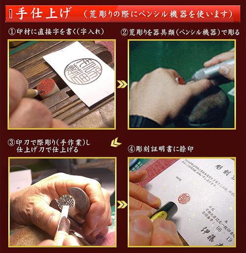 手仕上げ印鑑の彫刻